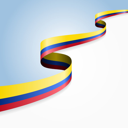 Colombian flag wavy abstract background. Vector illustration. Çizim