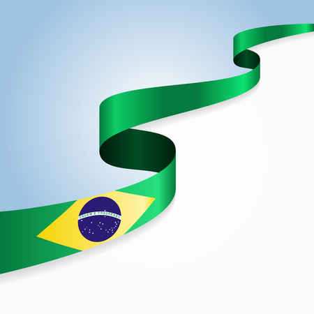 brazilian flag: Brazilian flag wavy abstract background. Vector illustration.