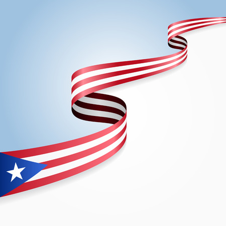 Puerto Rican flag wavy abstract background. Vector illustration. Ilustração