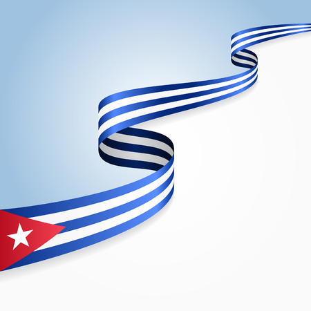 Cuban flag wavy abstract background. Vector illustration.