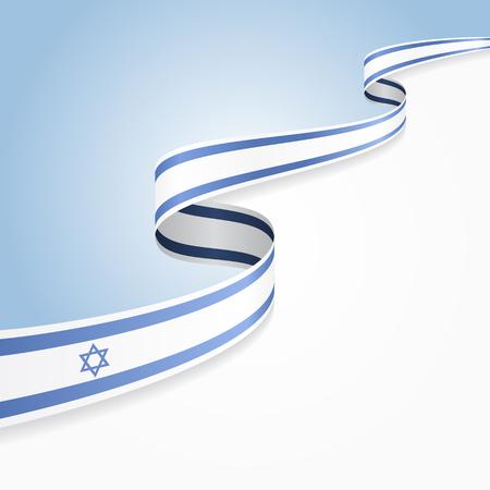 Israeli flag wavy abstract background. illustration. Illustration