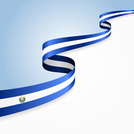 El Salvador flag wavy abstract background. illustration.