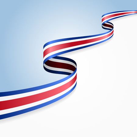 Costa Rican flag wavy abstract background. illustration.