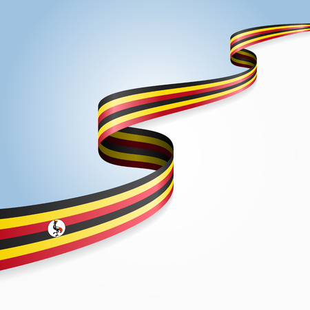 ugandan: Ugandan flag wavy abstract background. illustration.