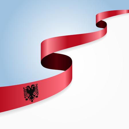 albanian: Albanian flag wavy abstract background. illustration.