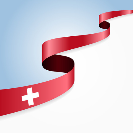 swiss flag: Swiss flag wavy abstract background. illustration.