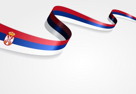 serbian: Serbian flag wavy abstract background. Vector illustration.