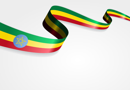 ethiopia abstract: Ethiopian flag wavy abstract background. Vector illustration. Illustration