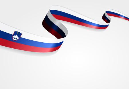 slovenian: Slovenian flag wavy abstract background. Vector illustration.