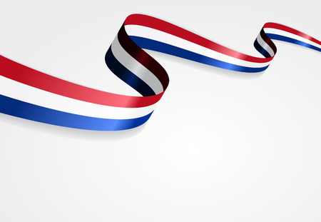 Dutch flag wavy abstract background. Vector illustration. 版權商用圖片 - 55381153