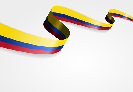 Colombian flag wavy abstract background. Vector illustration. Иллюстрация