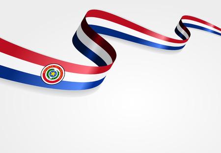paraguayan: Paraguayan flag wavy abstract background. Vector illustration.