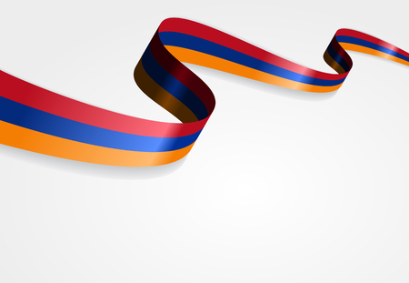 armenian: Armenian flag wavy abstract background. Vector illustration.