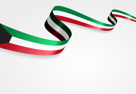 Kuwait flag wavy abstract background. Vector illustration. Çizim