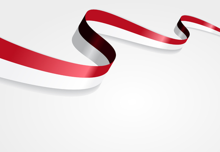 Indonesian flag wavy abstract background. Vector illustration. Çizim