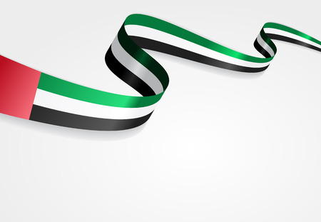 United Arab Emirates flag wavy abstract background. Vector illustration. Çizim