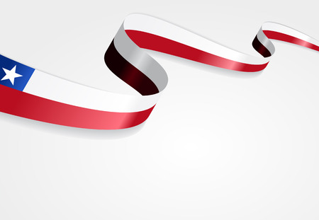 bandera chilena: Chilean flag wavy abstract background. Vector illustration.