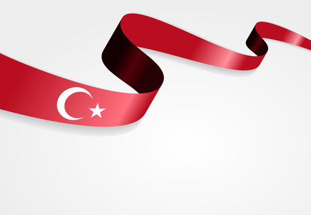 drapeau turc ondulé fond abstrait. Vector illustration.