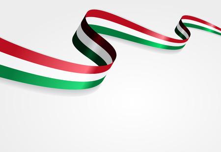 ハンガリーの旗波状の抽象的な背景。ベクトルの図。