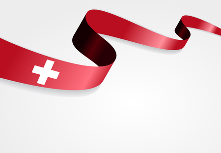 swiss flag: Swiss flag wavy abstract background. Vector illustration.