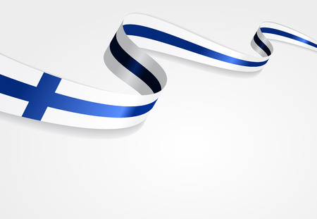 suomi: Finnish flag wavy abstract background. Vector illustration.