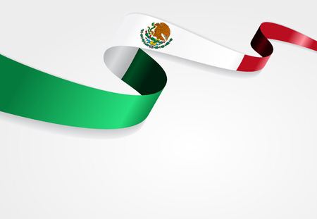 mexican flag: Mexican flag wavy abstract background. Vector illustration.