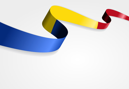 romanian: Romanian flag wavy abstract background. Vector illustration. Illustration