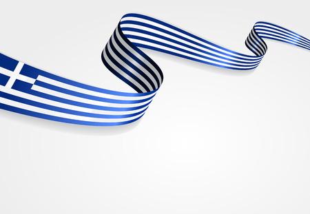 greek flag: Greek flag wavy abstract background. Vector illustration.