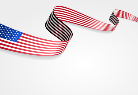 blue stripe: USA flag wavy abstract background. Vector illustration.