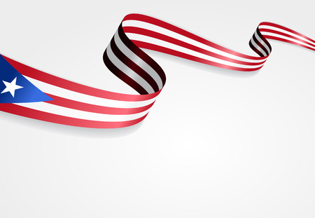 rican: Puerto Rican flag wavy abstract background. Vector illustration. Illustration