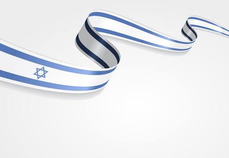 Israeli flag wavy abstract background. Vector illustration.