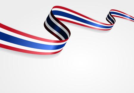Thai flag wavy abstract background. Vector illustration.