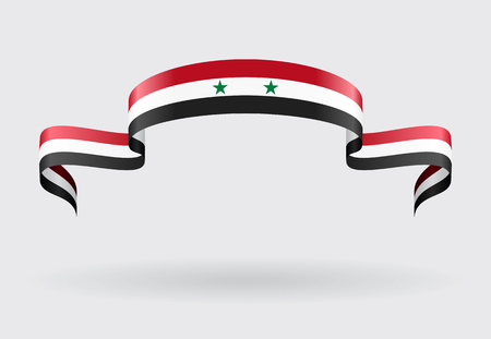 syrian: Syrian flag wavy abstract background. Vector illustration.
