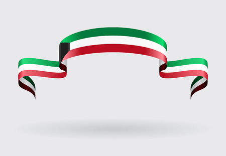 Kuwait flag wavy abstract background. Vector illustration. Illustration