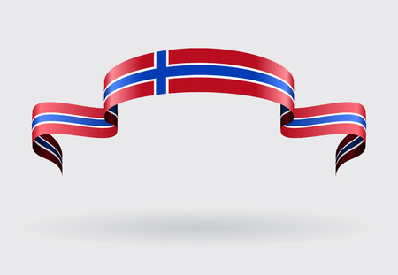 norwegian flag: Norwegian flag wavy abstract background. Vector illustration. Illustration