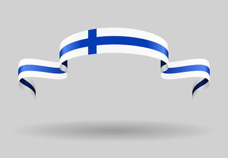 finnish: Finnish flag wavy abstract background. Vector illustration.
