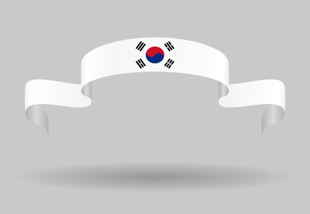 korean: South Korean flag wavy abstract background. Vector illustration.