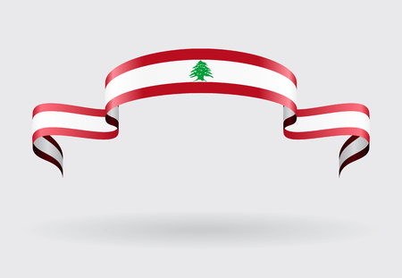 lebanese: Lebanese flag wavy abstract background. Vector illustration.