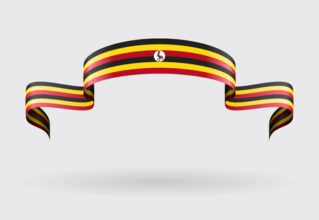 ugandan: Ugandan flag wavy abstract background. Vector illustration.