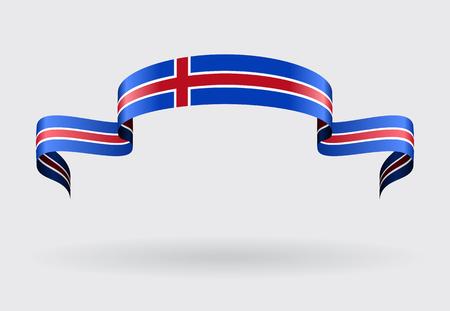 flag banner: Icelandic flag wavy abstract background. Vector illustration. Illustration