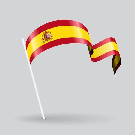 Spanish pin icon wavy flag. Vector illustration.