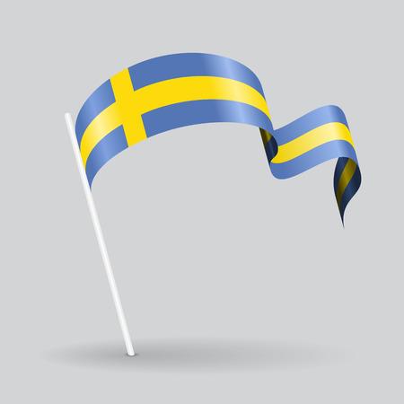 Swedish pin icon wavy flag. Vector illustration. Illustration