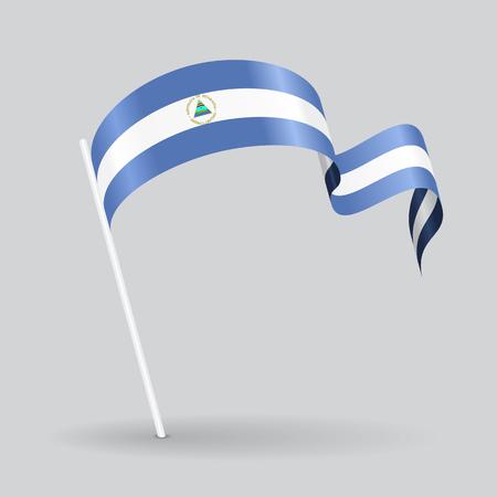 nicaraguan: Nicaraguan pin icon wavy flag. Vector illustration.