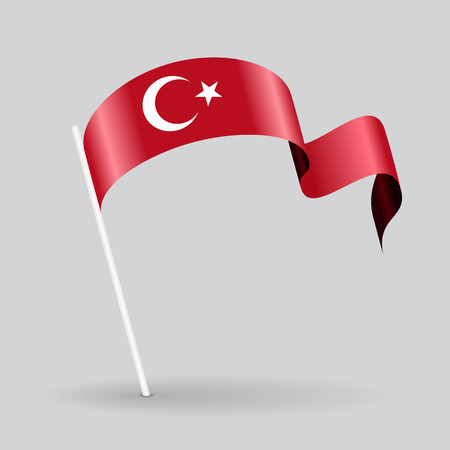 broche turque icône drapeau onduleux. Vector illustration.