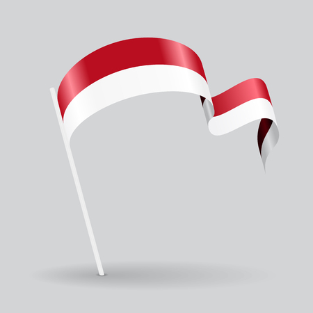Indonesian pin icon wavy flag. Vector illustration.