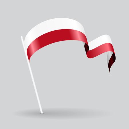 Polish pin icon wavy flag. Vector illustration.