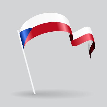 Czech pin icon wavy flag. Vector illustration. Illustration