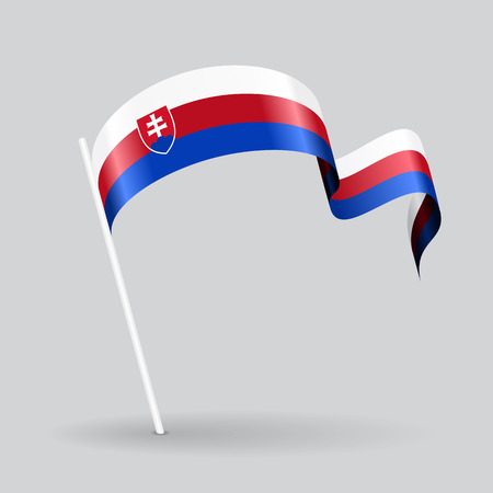 Slovak pin icon wavy flag. Vector illustration.