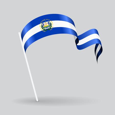 El Salvador pin icon wavy flag. Vector illustration.