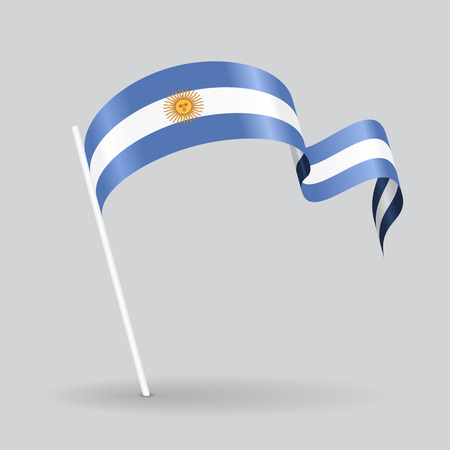argentinean: Argentinean pin icon wavy flag. Vector illustration. Illustration